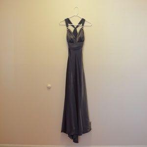 Camille La Vie – Metallic Dark Gray Long Dress